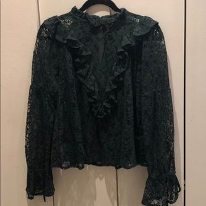 Forest Green Long Sleeve Lace Blouse